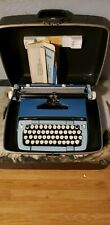 Vintage Smith Corona Blue and White Classic 12 Manual Typewriter  with case