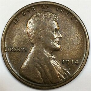 1914-D Lincoln Wheat Cent Penny Beautiful High Grade Coin Rare Date