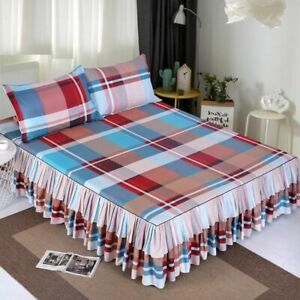 Floral Bedding Set Home Double Layer 1pc Bed Skirt 2pcs Pillowcase Elastic Tape