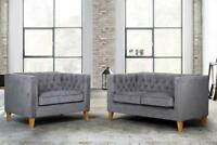 Beautiful Traditional Velvet Grey 2 Seater Snuggle Chair & 2 Seater Sofa