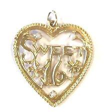 14 Karat Yellow Gold Vintage Style Sweet Sixteen Heart Shape Charm Pendant P438