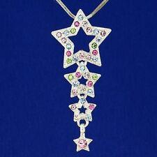 Star W Swarovski Crystal 3 Wish Star Multi Color Pendant Necklace Jewelry Gift