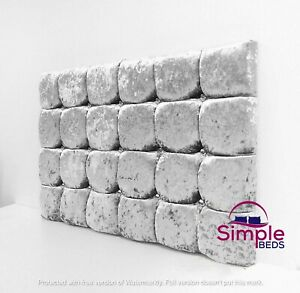 """SUPER CUBE PADDED HEADBOARD BED HEAD IN CRUSHED VELVET 24"""" FREE DELIVERY"""