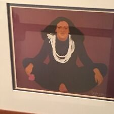 Pegge Hopper Woman With Pikake Lei  1979. Litho Signed Framed .