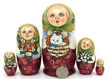 Russia Stacking Doll hand painted GIRL & White Kitten MATT Matrioshka Veselova 5