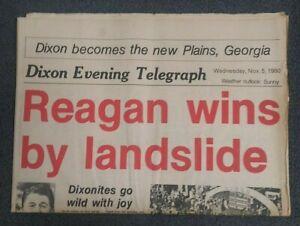 Ronald Reagan Elected President - 1980 Dixon, Illinois Newspaper