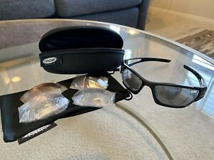 TIFOSI Cycling Sunglasses Black Frame w/ Zip Case + 3 Lens: Gray, Orange & Clear