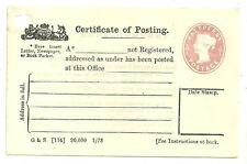 QUEEN VICTORIA 1/2D PINK UNUSED CERTIFICATE OF POSTING 5 LINES CPP2 1878