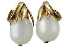 Napier BOOK PIECE Cumquat Faux-Moonstone Runway Couture Earrings