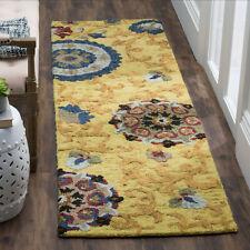 "Safavieh Handmade Gold/Multi Blossom Floral Sculpt 2'3""x8' Wool Runner Rug-NEW!"