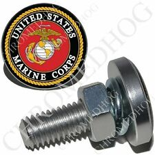 2 Metal License Plate Frame Fastener Tag 3D Bolt Screws - Marine Corp USMC LOGO