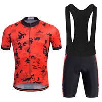 Men's Road Bike Clothing Red Cycling Jersey (Bib) Shorts Set Reflective S-5XL