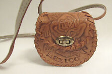VINTAGE 1970s MEXICO TOOLED LEATHER MINI SHOULDER BAG ROSES