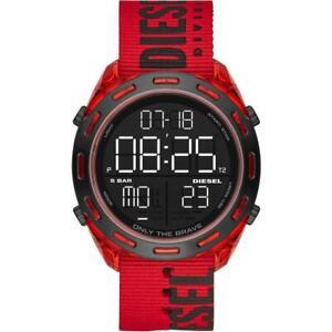 Mens Wristwatch DIESEL CRUSHER DZ1916 Fabric Red Digital Chrono Timer Alarm