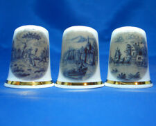 Birchcroft China Thimbles -- Set of Three -- Blue Delft Images