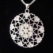 Farbe Silber - Kette 80-85 cm mit Elementen + Anhänger HERZ - Kristalle - NEU