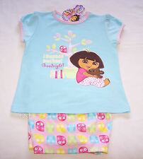 Dora The Explorer Teddy Girls Blue Pink Embroidered Pyjama Set Size 4 New