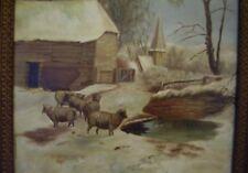 c1900 Antique estate Sheep snow winter Landscape Oil Painting Animal barn church