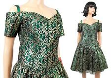 NOS 80s Prom Dress Sz 8 M Vintage Gold Lace Green Taffeta Short Party Gown NWT