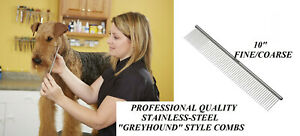 "ANDIS STAINLESS STEEL 10"" FINE COARSE Greyhound Style UTILITY COMB*Pet Grooming"
