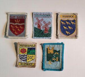 5 Vintage Sussex Scout Blanket Badges