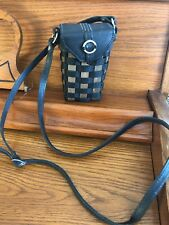 Longaberger To Go Small Buckle Bag - Leather With Black Stripe Weave