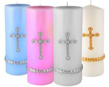 L 8x3'' Decorative Religious Cross Pillar Paraffin Candles-Pink-Blue-White-Gold