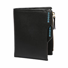 Bogesi Men's Wallet Purse Bifold Casual Black Solid Leather Wallets Multi Pocket