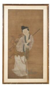 ANTIQUE CHINESE INK WASH PAINTING Of 麻姑Frames Image Size 40x20 Inches