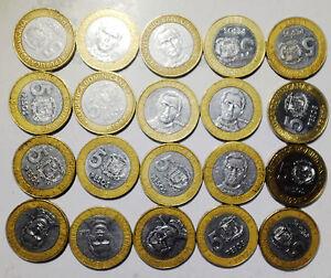 DOMINICANA DOMINICAN  5 Pesos 1997 23mm bi-metal  bimetalica Coins lot 20PCS