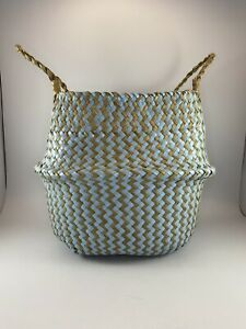 Blue & Tan Woven Seagrass Belly Flower Plant Pot Laundry Basket Home Decor
