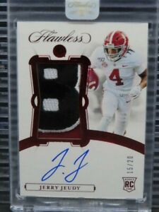 2019 Flawless Collegiate Football Jerry Jeudy RC Patch Auto RPA #/20 Y762