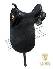 Australian Stock Genuine Leather Horse Black Saddle Tack All Size