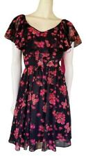 Betsey Johnson Sleeveless Black Pink Floral Butterfly Dress Size 6
