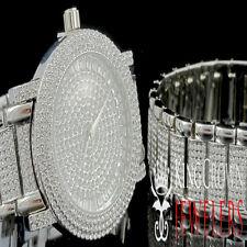 Men's Lab Diamond Iced Out White Gold Finish Hip Hop Watch & Bracelet Combo Set