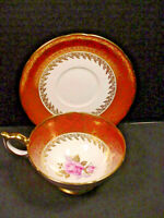 Aynsley Orange Gold Chintz Pink Cabbage Rose China Tea Cup & Saucer
