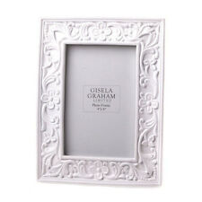 Gisela Graham White Embossed Floral Picture Frame