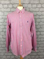 RALPH LAUREN POLO MENS UK M PINK STRIPED SHIRT COLLAR LONG SLEEVE DESIGNER SMART