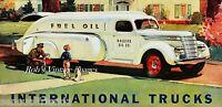 Vintage International truck Gasoline hauler 1940 photo print poster