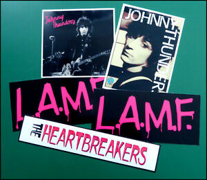 JOHNNY THUNDERS, HEARTBREAKERS, Set of 5 Large Glossy Vinyl Promo Stickers