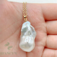 17-33mm Huge White Baroque Pearl Pendant Necklace 18 inches South Sea natural