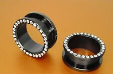 """PAIR OF 15/16"""" 24mm stones black titanium flesh tunnel gem plug"""
