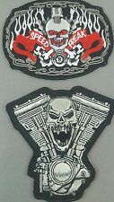 Bikers emroidered  iron on /sew on vest patch set of two