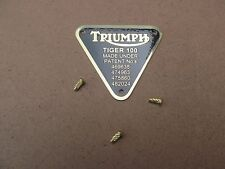 70-1678 GENUINE TRIUMPH TIGER 100 BRASS PATENT PLATE BADGE WITH RIVETS
