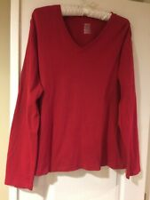 Cherokee red long sleeve Classic tee V-neck size XXL  Excellent Condition