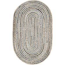1.6'x2.6 Feet Braided Rug Oval Denim Jute Floor Mat Handmade Area Floor Rugs