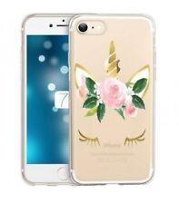 Coque Iphone 7 iphone 8 Licorne eyes liberty fleur rose dore unicorn