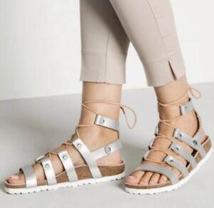 Birkenstock (Papillio) Cleo Gladiator Sandal Silver Women's Sz EU38/7-7.5US