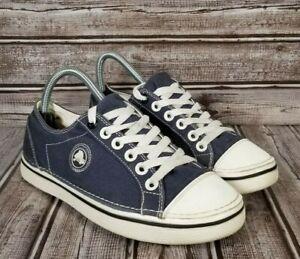 CROCS Hover Lace Up Cap Toe Shoes Women's 8 Blue Canvas Sneakers