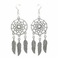 Delicate Jewelry Retro Silver Plated Dream Catcher Drop Dangle Earring Q7Y